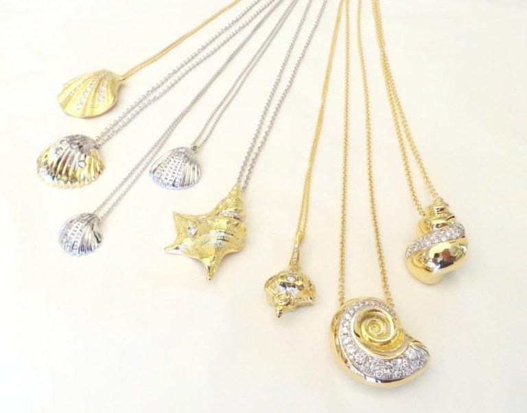 Cattelan - collezione conchiglie oro giallo e bianco 750 con diamanti