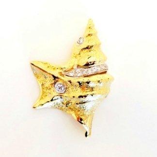 Cattelan - pendente in oro giallo e bianco 750 con diamanti - mod. conchiglia piede di pellicano