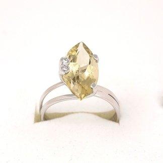 Anello in oro bianco 750 con quarzo fumè e diamanti - modello