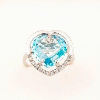 Anello in oro bianco 750 con diamanti e topazio azzurro - modello briolè