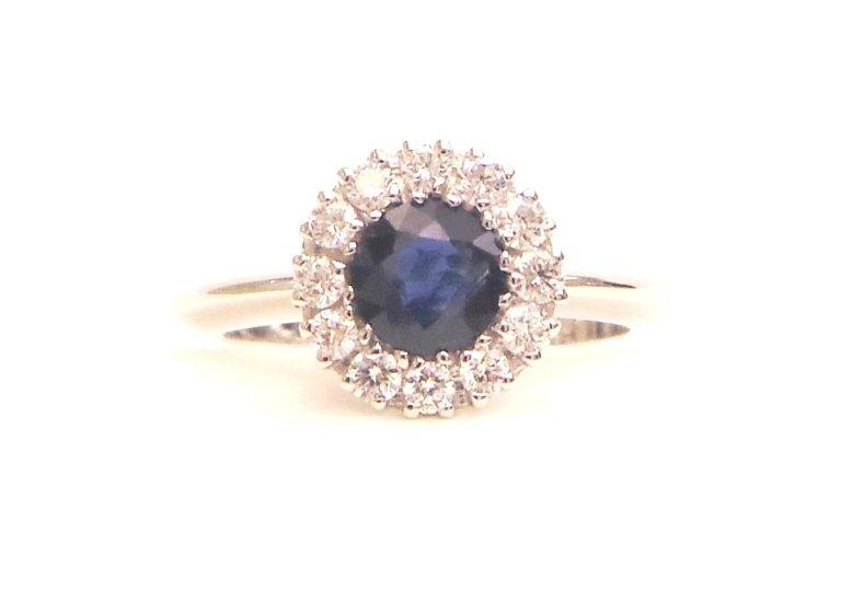 Cattelan - anello in oro bianco 750 con diamanti e zaffiro blu
