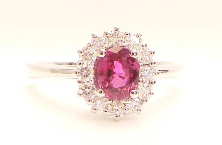 Cattelan - anello in oro bianco 750 con diamanti e rubino