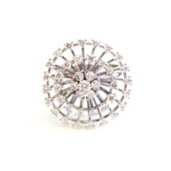 Anello in oro bianco 750 con diamanti - modello stars