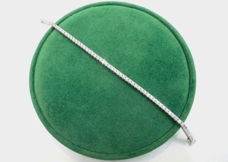 Cattelan - bracciale diamanti e oro bianco 750 - modello tennis a griffes