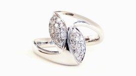 Cattelan - anello in oro bianco 750 con diamanti - modello contrariè navette