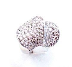 Cattelan - anello in oro bianco 750 con diamanti - modello doppia onda