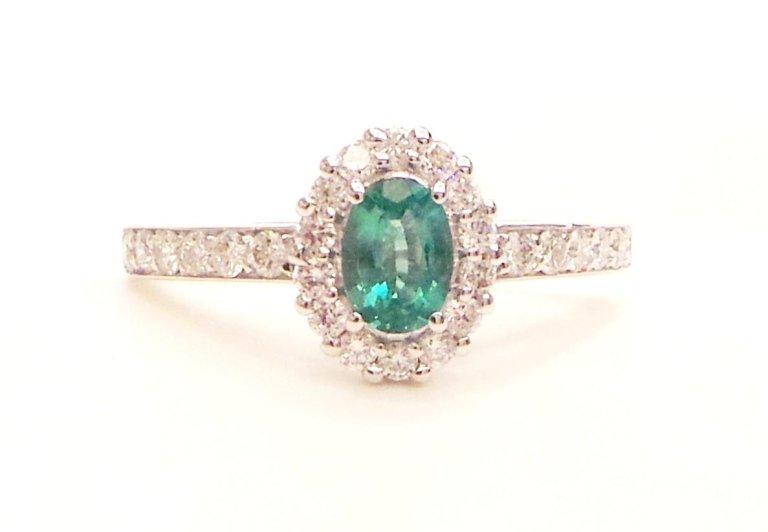 Cattelan - anello pavè in oro bianco 750 con diamanti e smeraldo ovale
