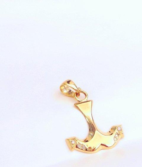 Cattelan - ciondolo in oro giallo 750 con diamanti - Mod. Ancora