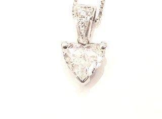 Pendente Oro Bianco 750 con Diamante a Cuore