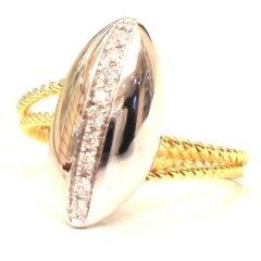 anello con diamanti; anello bicolore; anelli artigianali; ring whit diamonds; ring in gold