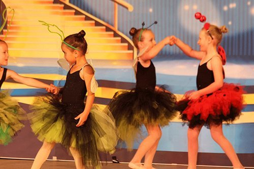 Group of young girls performing on stage