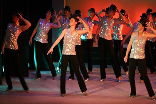 Dance group performing on stage
