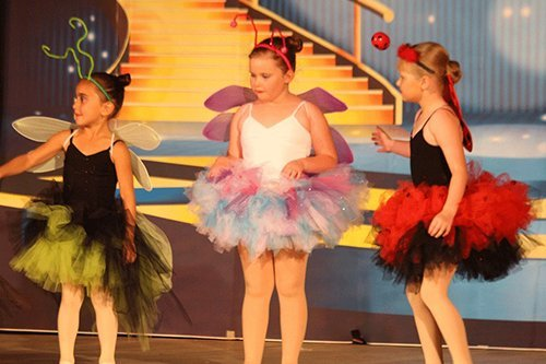 Group of young dancers performing on stage