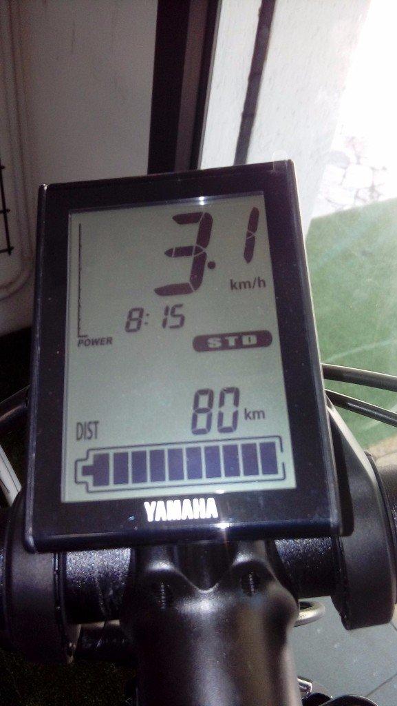 Dettaglio del contatore di mountain bike elettrica