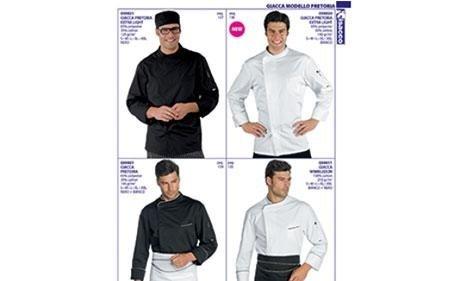 quattro foto di uomini che indossano abbigliamento da cucina