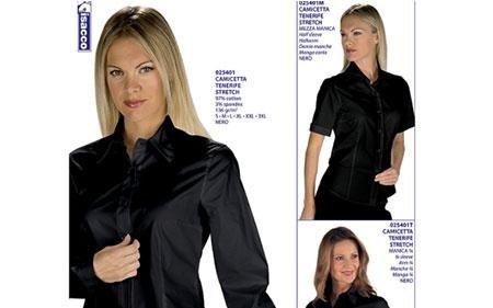 tre foto di donne che indossano una camicia nera