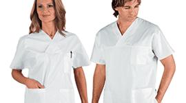un uomo e una donna in Camice da lavoro per strutture sanitarie