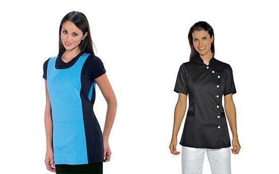 donna con grembriule azzurro  di fianco una donna con grembiule scuro