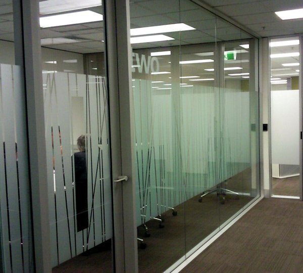 patterned office glass