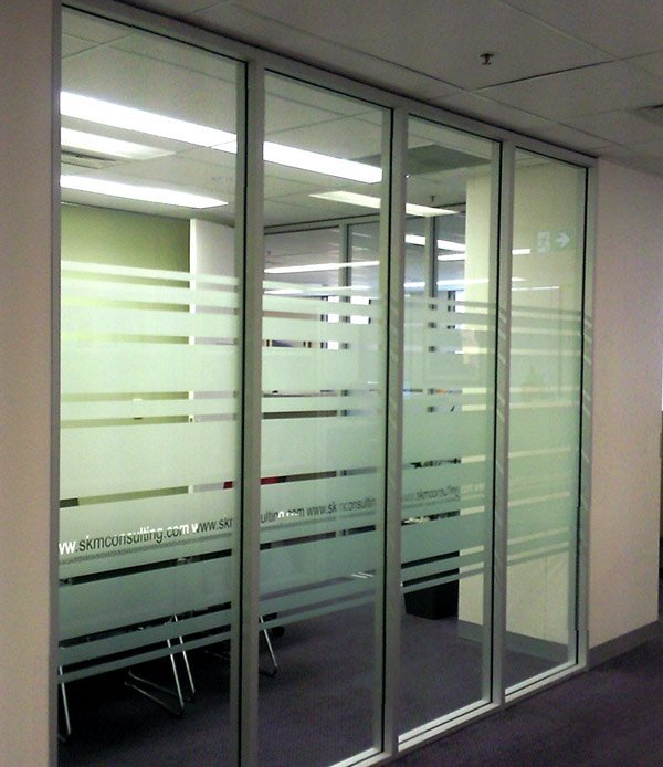 lined office glass