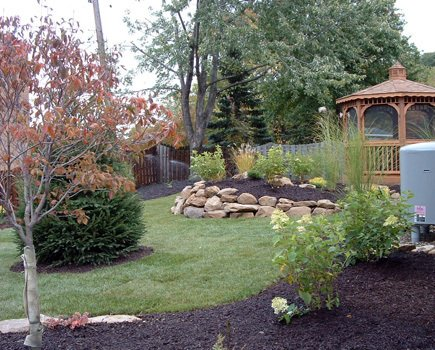 Quality landscaping of a backyard in Sagamore Hills