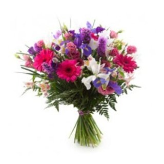 fascio di rose iris bluiris bianchi