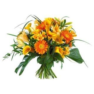Bouquet-arancio-con-gerbere-e-calle