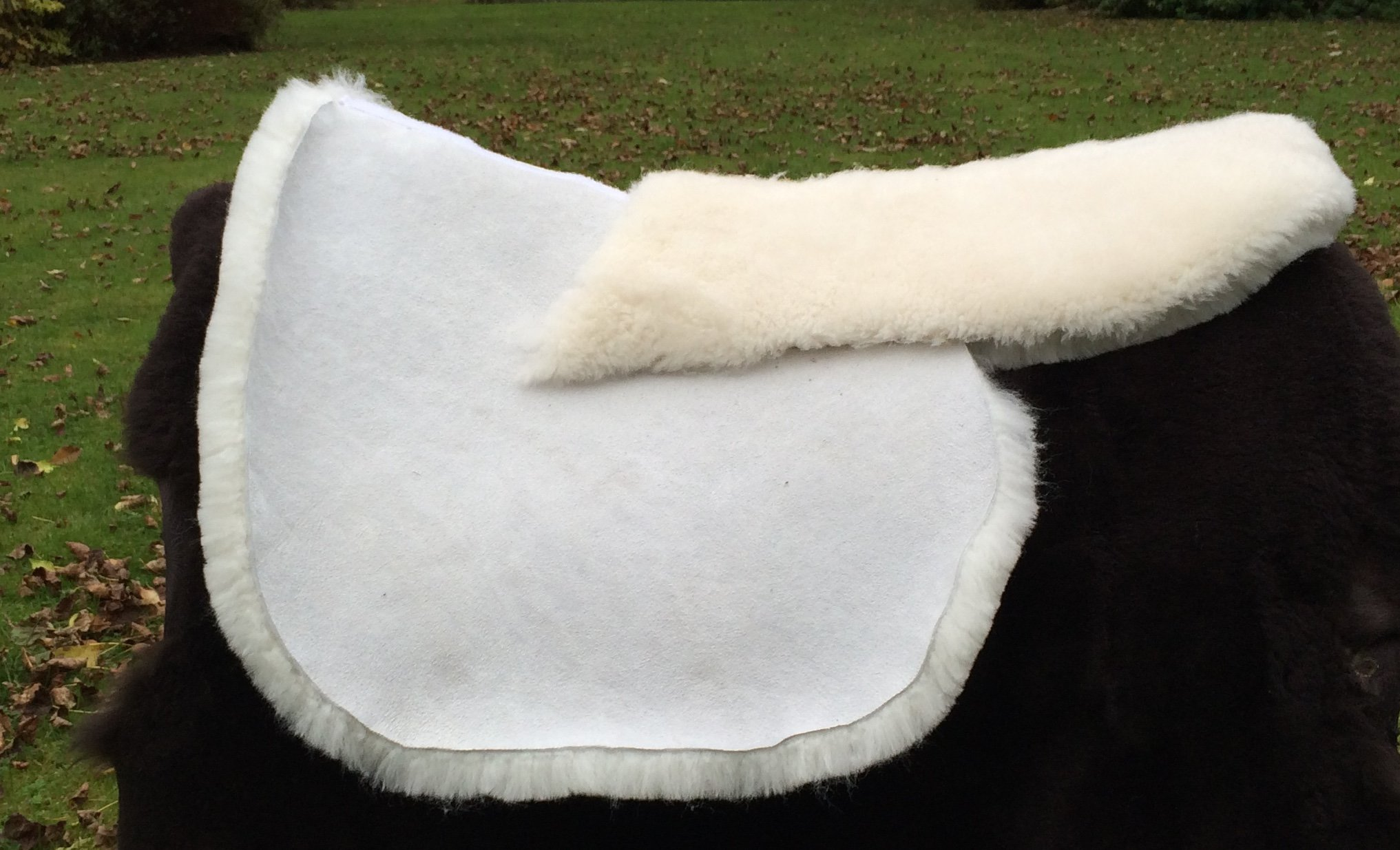 Ivory Side Saddle Sheepskin Numnah with Shaped, Deep, Detachable Riser Pad