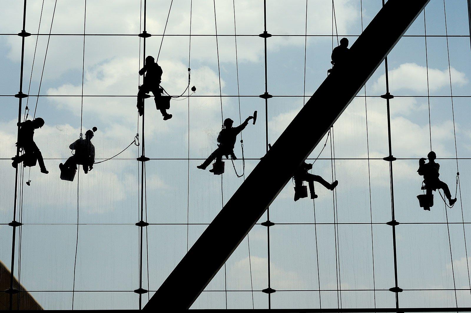 delle persone arrampicate su delle corde