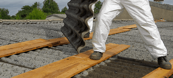 Asbestos tester on a roof