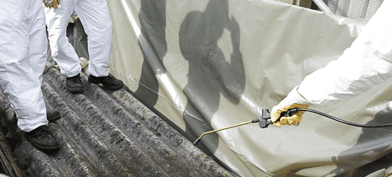 Removing asbestos from a roof