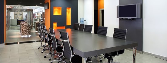 View of a meeting table in an office