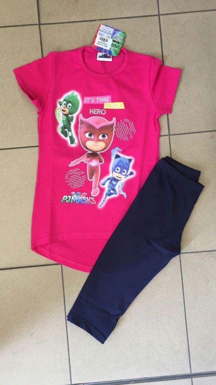 t-shirt rosa con leggings bimba blu