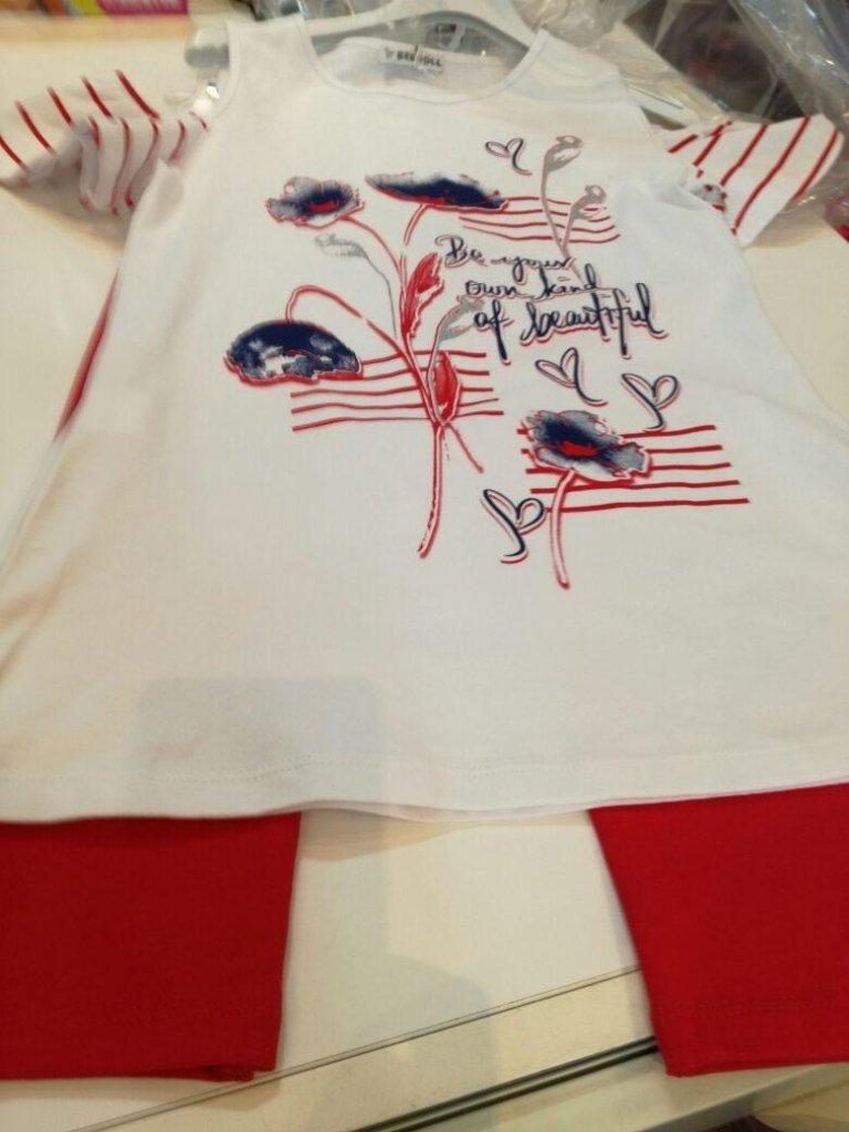 camicia bianca con stampa e leggings bimba rossi