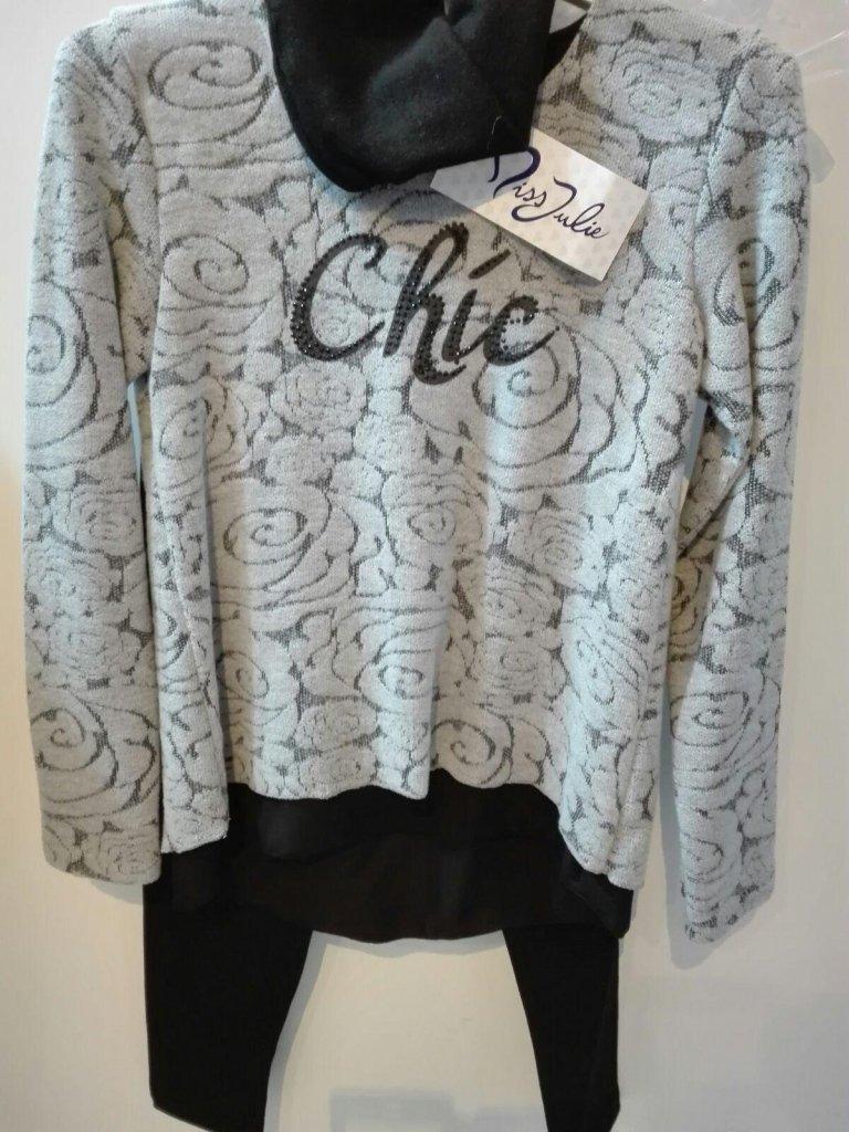 maglione floreale grigio