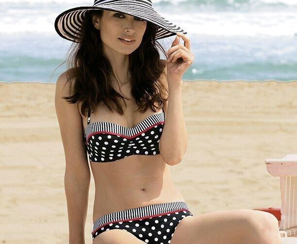 bikini donna nero a pois bianchi