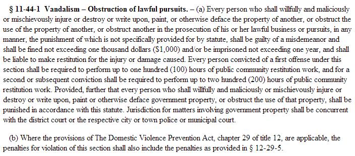 Domestic Vandalism Statute