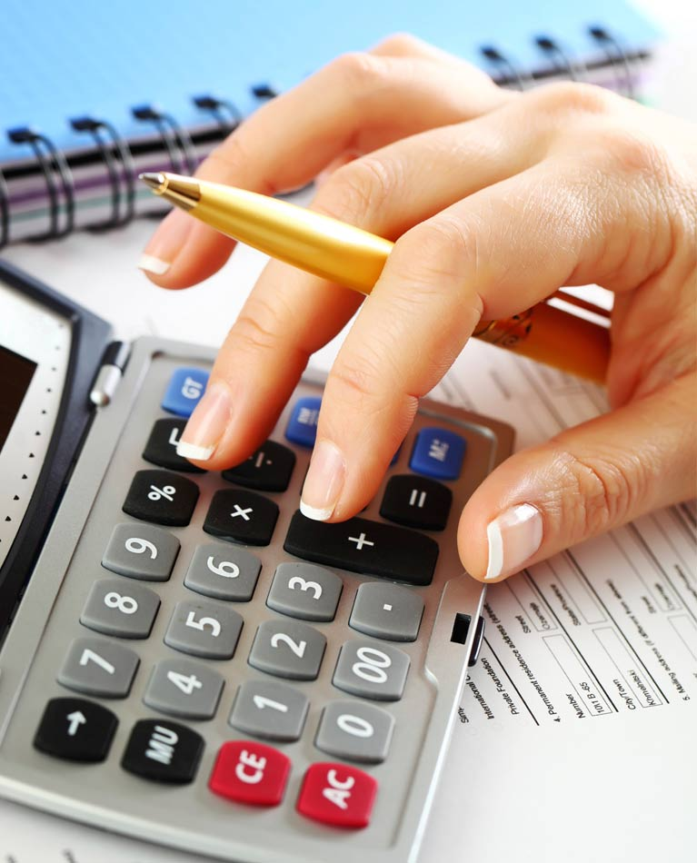 ps bookkeeping service female hand typing on calculator