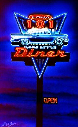 creazione al neon con scritta dinner
