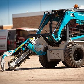 chain trencher truck in sky blue color