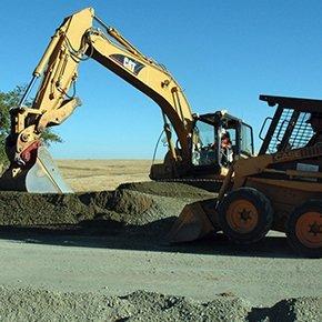 mini excavator preparation for paving