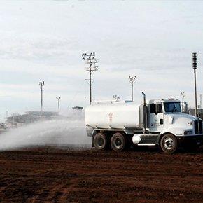 white truck sprinkler