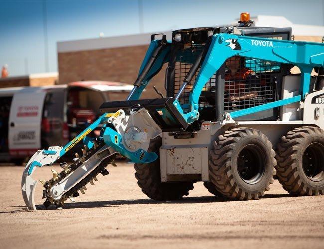 trencher micro excavator in sky blue