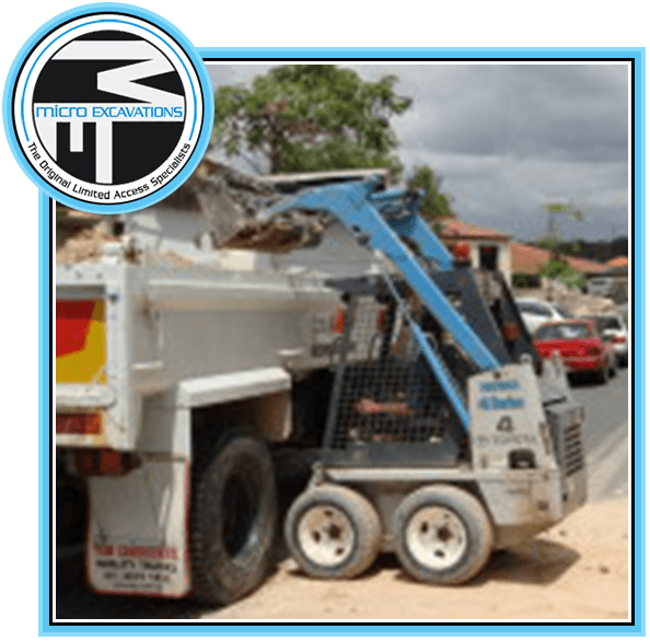 blue posi track moved soil and rocks to dumped truck