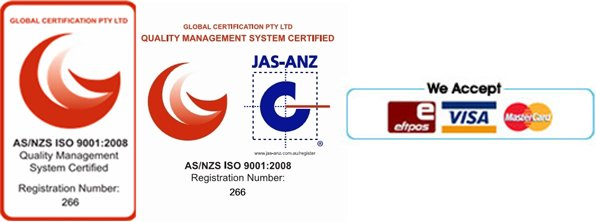 qualtiy management system certified and eftpos, visa, mastercard logo