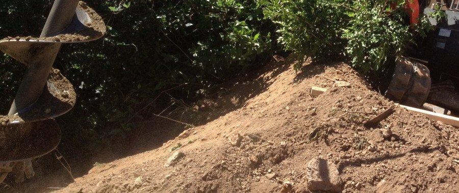 auger in soil beside plants