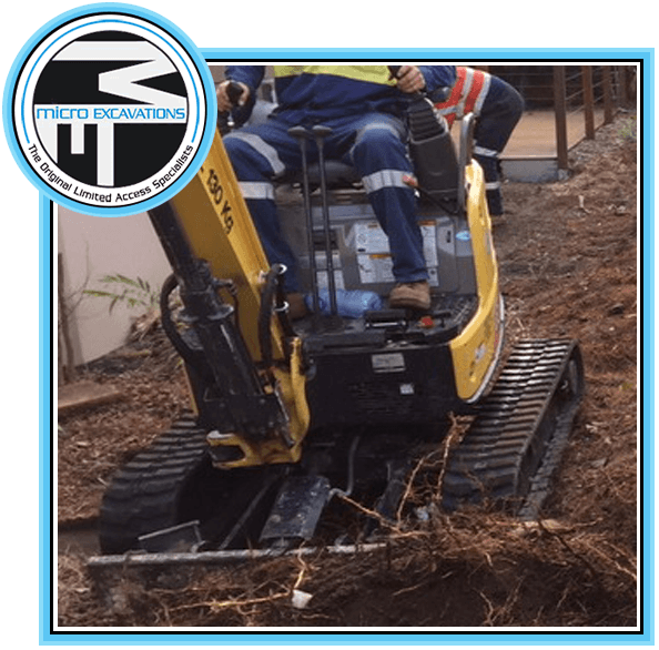 man operating excavator for landscaping