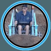 microexcavation in blue