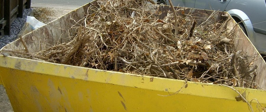 skips in yellow container