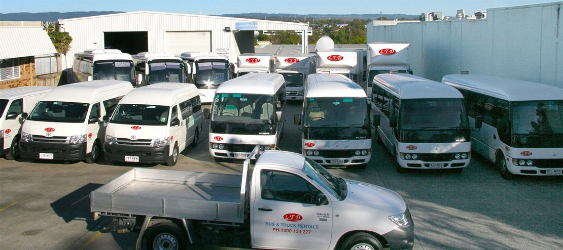 Reliable bus and truck arrange properly on their parking area for rentals services in Gold Coast
